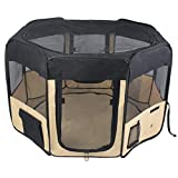 """ZuHucpts 48"""" Zipper Sealed Bottom Large Indoor/Outdoor Dog Pet Playpen, Portable Foldable Puppy Cat Excise Pen Kennel Tent , Soft Folding Crate Cage House Enclosure 