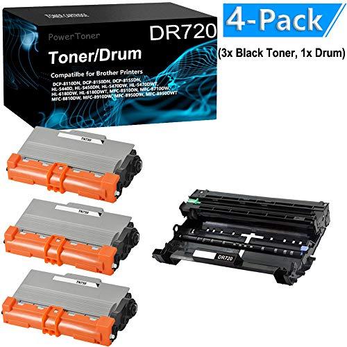 4-Pack (3X Black Toner,1x Drum Unit) Compatible DCP-8150DN Printer Cartridge Drum Unit Replacement for Brother TN450 DR420 by PowerToner