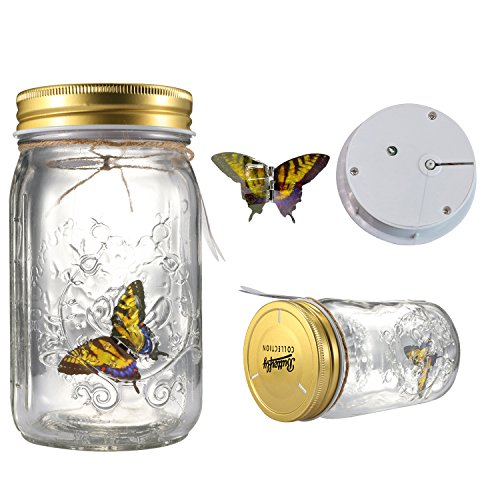 Fangfang LED Lamp Romantic Glass Animated Butterfly Jar Gift Decoration -