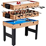 """MD Sports 48"""" 3-In-1 Multi-Game Combo Table Billiards, Slide Hockey, and Soccer"""