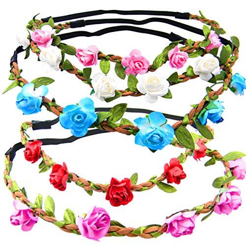 Shells 5PCS Multicolor Daisy Bohemian Flower Headband Crown Hair Wreath Bridal Headpiece with Adjustable Elastic Ribbon (Bridal Wreath Headband)