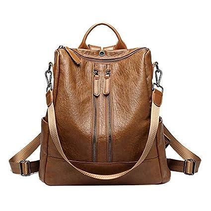 mochila de Cuero Suave Bolso Femenino Bolso del Estudiante Bolsa de Viaje de Gran Capacidad Salvaje