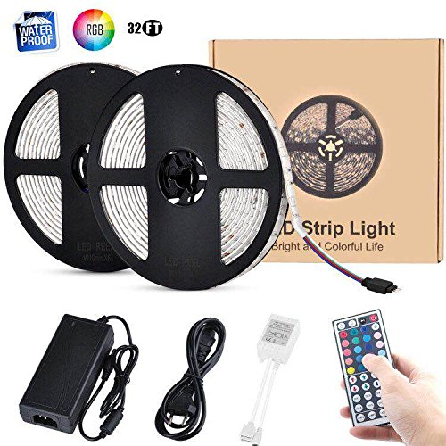 10m LED Strip Light Kits, ikelimus RGB Waterproof Self-adhesive Dimmable LED Light Strips 12Vdc SMD 5050 300 LEDs 32.8ft LED Tape Light with 44-keys IR Remote Controller for Clubs/Homes/Hotels/Outdoor by ikelimus