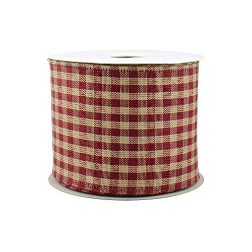 Burgundy Gingham - Burgundy Gingham Wired Edge Ribbon - 2 1/2 Inch x 10 Yards, Christmas Decor, Valentine's Day, Birthday, Rustic Wedding, Farmhouse Party, Picnic, Mother's Day