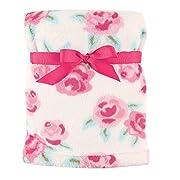 Hudson Baby Super Plush Blanket, Pink Roses, 30  x 40