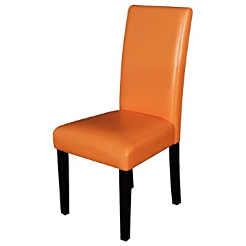monsoon pacific villa faux leather dining chairs sunrise orange set of 2