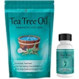 Tea Tree Oil Foot Soak with Epsom Salt 16 oz & Tea Tree Nail Solution 1 Fl oz - Two Part Foot & Toenail System- Helps Renew Discolored Toe and Finger Nails