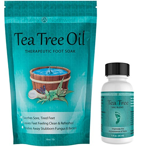 Tea Tree Oil Foot Soak with Epsom Salt 16 oz & Tea Tree Nail Solution 1 Fl oz - Two Part Foot & Toenail System- Helps Renew Discolored Toe and ()