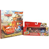 Disney Pixar Cars Read & Play Gift Bundle, includes Crusin' Radiator Springs 3 Car Gift Pack With Lightning McQueen, Sally Mater Vehicle and a Bonus Team Lightning Hard Cover Book this has 30 Flaps Inside- 2 Pc Kids Gift Bundle