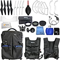 Accessory kit for DJI Phantom 4 includes Ultimate Backpack + 2 Pairs of Carbon Fiber Propellers + 2 Pairs of White Propeller Blades + 32GB SD Memory Card + High Speed Card Reader & More!