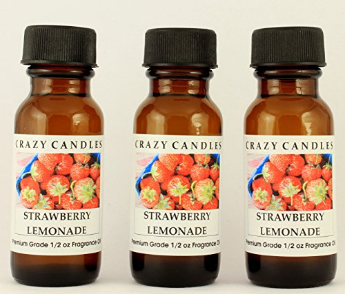 Strawberry Lemonade 3 Bottles 1/2 FL Oz Each (15ml) Premium Grade Scented Fragrance Oil by Crazy Candles Lemonade Fragrance Oil