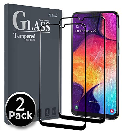 Ferilinso Screen Protector for Samsung Galaxy A50/A30/M30, [2 Pack] [Full Glue][Full Cover] Screen Protector Tempered Glass Case Friendly Protective Film with Lifetime Replacement Warranty (Black)