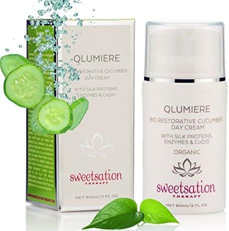 QLumiere Bio-Restorative Cucumber Day Cream with Silk Amino Acids, Hyaluronic Acid, Enzymes, Fruit Antioxidants, Spirulina Sea Kelp, Caviar, CoQ10, 2oz. Hydrating Soothing Protecting, Pregnancy safe.