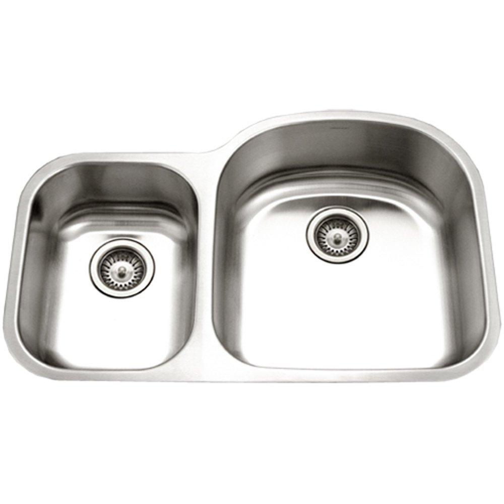 Houzer STC-2200SL-1 Eston Series Undermount 70/30 Double Bowl Kitchen Sink T-304 Stainless Steel