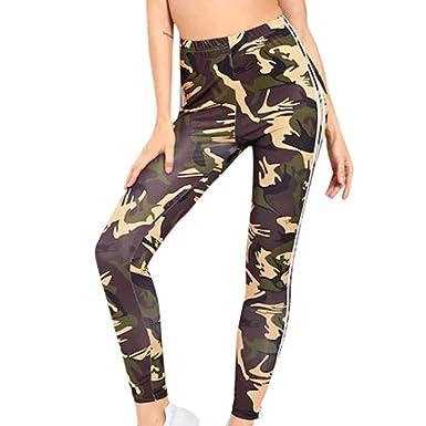 ff8699c78cf50f JOFOW Womens Leggings Camo Print Patchwork Side Vertical Striped High Waist  Casual Stretch Slim Long Comfy
