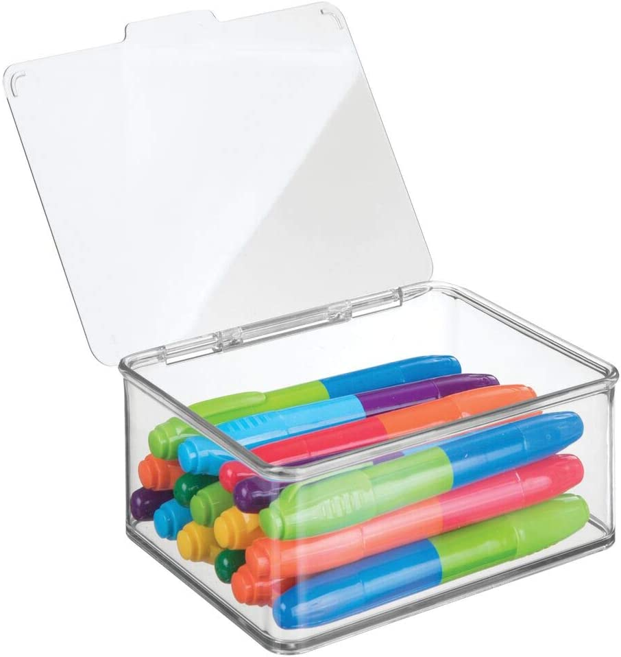 mDesign Caja con tapadera de plastico Transparente – Ideal como Organizador de Escritorio, costurero o para Material de Manualidades – Cajas de almacenaje apilables – Tamaño pequeño
