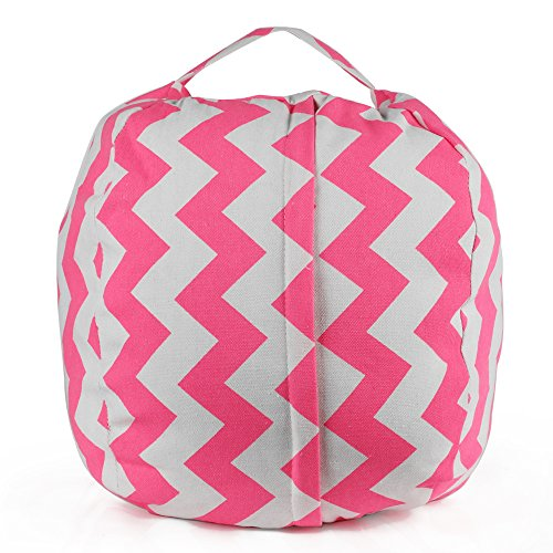 Stuffed Animal Storage Kids' Bean Bag Chair, Ehonestbuy Cotton Canvas Toy Organizer for Kids Bedroom, Storage Solution for Plush Toys, Blankets, Towels & Clothes (26 Inch, Pink Wave) (For Sitting Bags Bean)