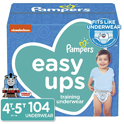 Pampers Easy Ups Pull On Disposable Potty Training Underwear for Boys, Size 6 ,4T-5T (104 Count), ONE MONTH SUPPLY (Pampers Large Size Pants)