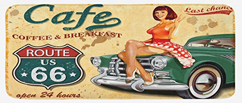 66 Kitchen - Lunarable Route 66 Kitchen Mat, Cafe Diner Sign with Vintage Lady Sitting on a Car Highway Nostalgic Grunge Theme, Plush Decorative Kithcen Mat with Non Slip Backing, 47