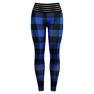 f233188d1 URIBAKE Fashion Women's Leggings Plaid Elastic Workout Fitness Sports Gym Running  Yoga Athletic Pants at Amazon Women's Clothing store: