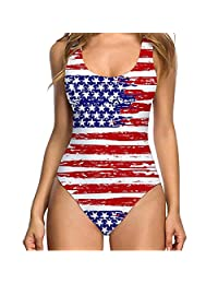 Women's Independence Day Flag Print Conservative Swimwear