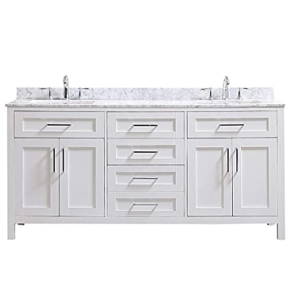 Amazing Ove Decors Tahoe 72W Marble Top Bathroom Double Sink Vanity 72 Inch By 21 Inch White Home Interior And Landscaping Ologienasavecom