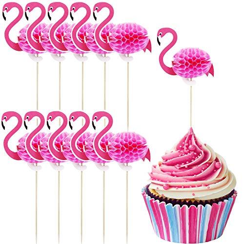 TecUnite 40 Pieces Flamingo Cupcake Toppers Cocktail Picks Flamingo Cake Decoration for Luau Hawaii Birthday Wedding Beach Party (Flamingo) ()