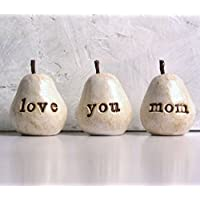 Gift for mom ... White love you mom pears ...Handmade clay pears for gift giving