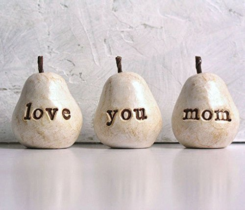 Gift for mom … White love you mom pears …Handmade clay pears for gift giving