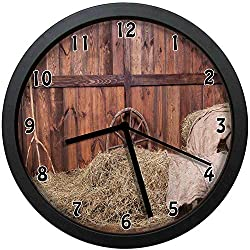 luckboy-zm Rural Old Horse Stable Barn Interior Hay and Wood Planks Image Print Large Wall Clock Home Office School Wall Clock 12in(About 30CM)