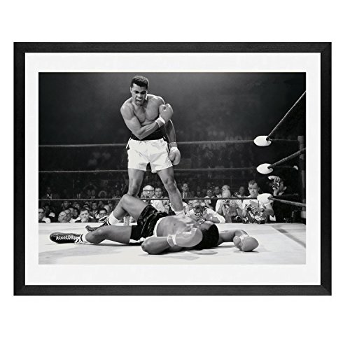 New York Photography Framed Framed art,Muhammad ali poster, framed wall art,Muhammad Ali vs. Sonny Liston Printed poster, boxing photo, fight, champ, man cave art, man cave art, boxing, ali ()