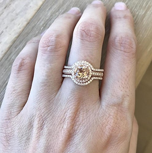 Rose Gold Morganite Ring Set  Morganite Engagement Ring Set  Morganite  Diamond Bridal Set