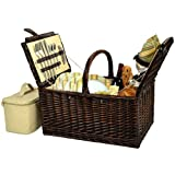 Picnic at Ascot Buckingham Willow Picnic Basket with Service for 4 - Olive Tweed