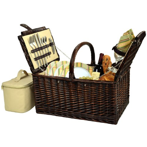 Picnic at Ascot Buckingham Willow Picnic Basket with Service for 4 - Olive Tweed by Picnic at Ascot