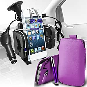 Samsung Galaxy Pocket Neo S55310 premium protección PU ficha de extracción de deslizamiento del cable En caso de la cubierta de la piel de la bolsa de bolsillo, superior de la calidad en auriculares de botón estéreo de manos libres de auriculares Auriculares con micrófono Mic y botón de encendido y apagado, retráctil Sylus Pen, 12v Micro Cargador de coche e universal succión Vent Carholder Car Mount Purple por Spyrox
