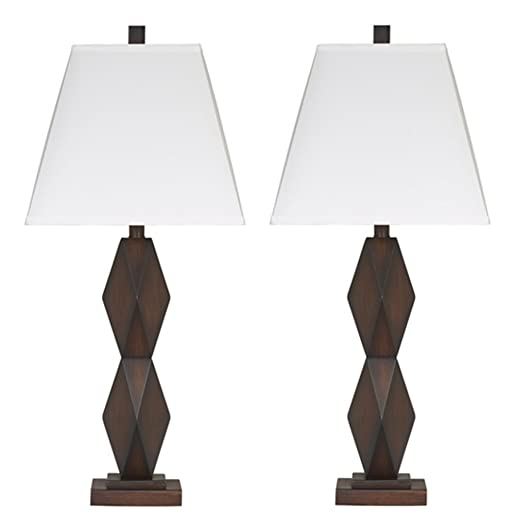 Signature Design by Ashley – Natane Table Lamp – Contemporary – Set of 2 – Dark Brown