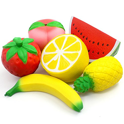 6PCS Jumbo Squishies Slow Rising Strawberry Peach Banana Lemon Watermelon Pineapple Charms Fruit Squishies Cream Scented Stress Relief Kawaii Toys for Kids and Adults