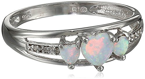 Sterling Silver Created Opal and Diamond Accent Three-Heart Ring, Size 8 (Diamond Created Opal Heart Ring)