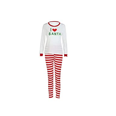 d0e3a4ca84 EFINNY Christmas Family Pajamas Set Parents and Kids Matching Printed  Sleepwear Sets Stripes Nightshirts
