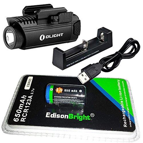 EdisonBright Olight PL1 II 450 lumen LED handgun light with EBR65 RCR123A lithium-ion battery and charger bundle