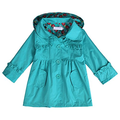 Arshiner Girl Kid Flower Waterproof Hooded Coat Jacket Outwear Raincoat Hoodies Purple,140(Age for...