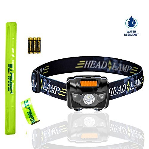 BEST LED Headlamp, 4 Modes, Bright White Light With Red Light, Super Bright, Water Resistant, Perfect For Kids & Adults, Get 2 Free Wristband Reflector, 3AAA Batteries Included (BLACK/ORANGE)- SAMLITE ()