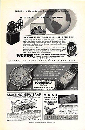 Print Ad 1946 Allcock Amazing New Trap Tourneau Watch