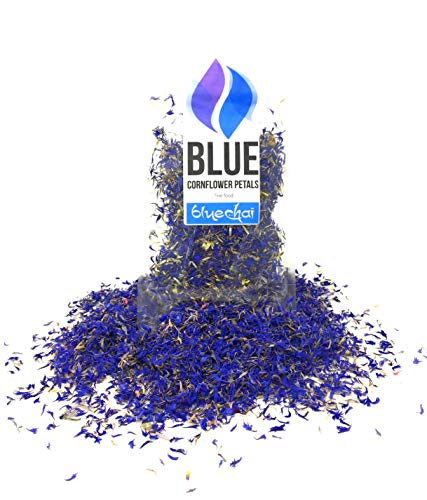 Pure Blue Cornflower Petals - 100% Organic, Dried, Grown in Germany - Natural Organically Grown Herbal Flowers for For Homemade Lattes, Tea Blends, Bath Salts, Gifts, Crafts (Centaurea cyanus) (Best Homemade Bath Salts)