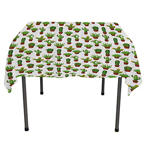 Flowers, Tablecloth Dust-Proof Table Cover Floral Theme Abstract Illustration of Cactuses in Flower Pots Print, for Outdoor and Indoor Use, 50x50 Inch Fern Green Redwood White