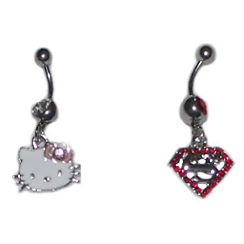 Vgs Eternity Fashions Fashion Jewelry Hello Kitty And Superman Navel Belly Button Ring Hz0019