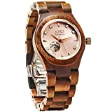 JORD Wooden Watches for Women - Cora Series Skeleton Automatic / Wood Watch Band / Wood Bezel / Self Winding Movement - Includes Wood Watch Box (Koa & Rose)