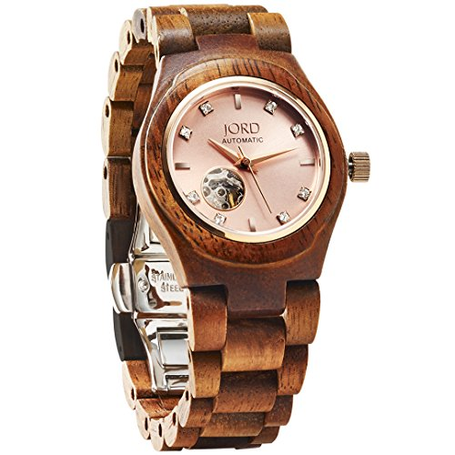 JORD Wooden Watches for Women – Cora Series Skeleton Automatic / Wood Watch Band / Wood Bezel / Self Winding Movement – Includes Wood Watch Box (Koa & Rose)