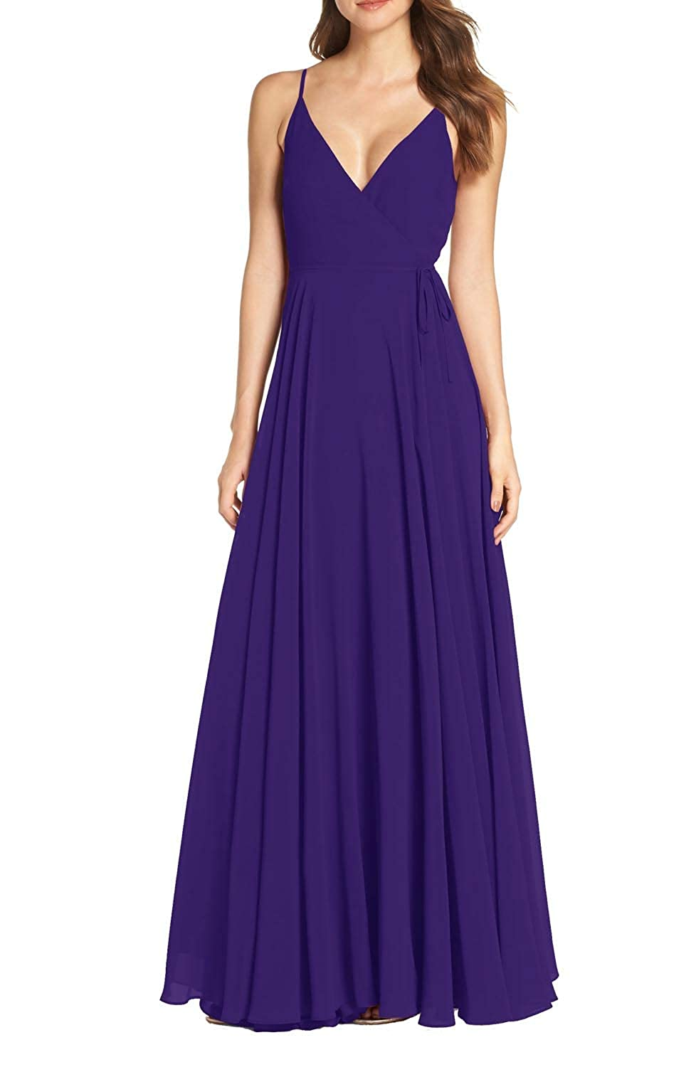 Royal Purple FeiYueXinXing Women's Sleeveless V Neck Evening Dresses Long Bridesmaid Ball Gown Prom Skirt