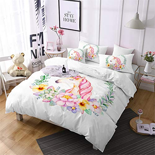 Jessy Home Duvet Cover 3 Piece Full Size Unicorn Quilt Cover Flower Bedroom Decora for Girls Children Gift Cartoon 3D Cute Bedding Set White (2Pillow Cases) ()